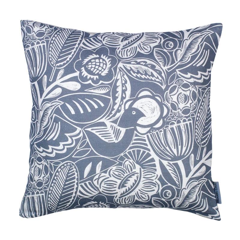 blue linen cushion