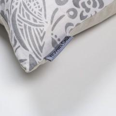Grey linen cushion corner