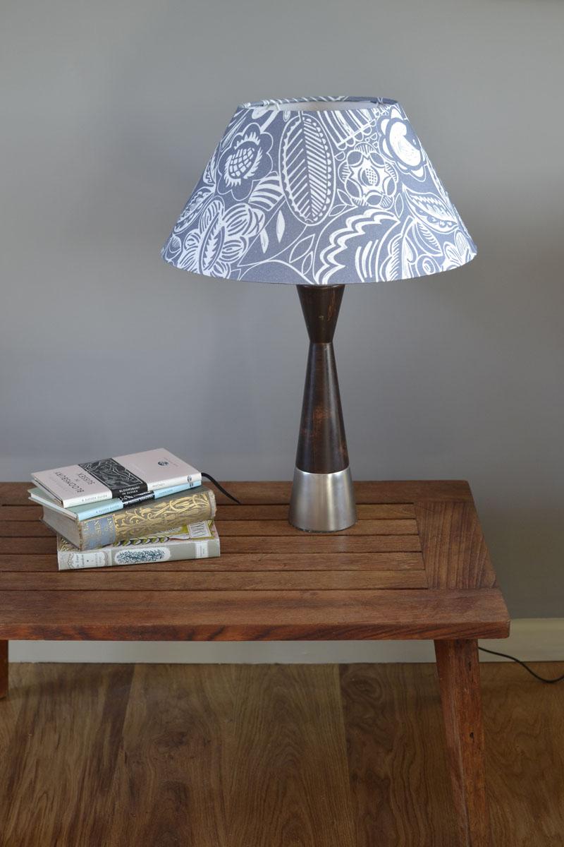 Blue Lamp Shade Bloom Woven Oak