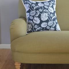 hand block printed cushion - blue