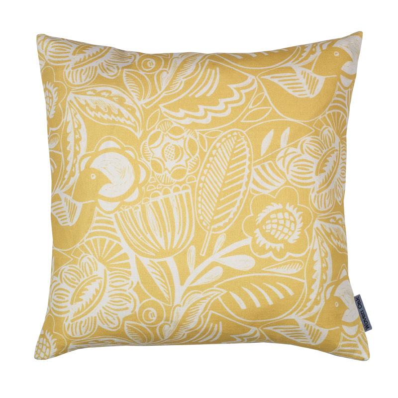 Linen cushion yellow