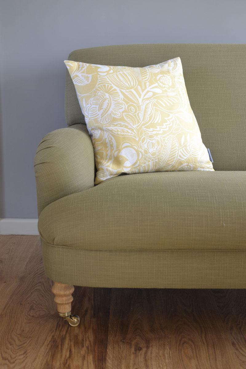 Linen Cushion Yellow Bloom Woven Oak