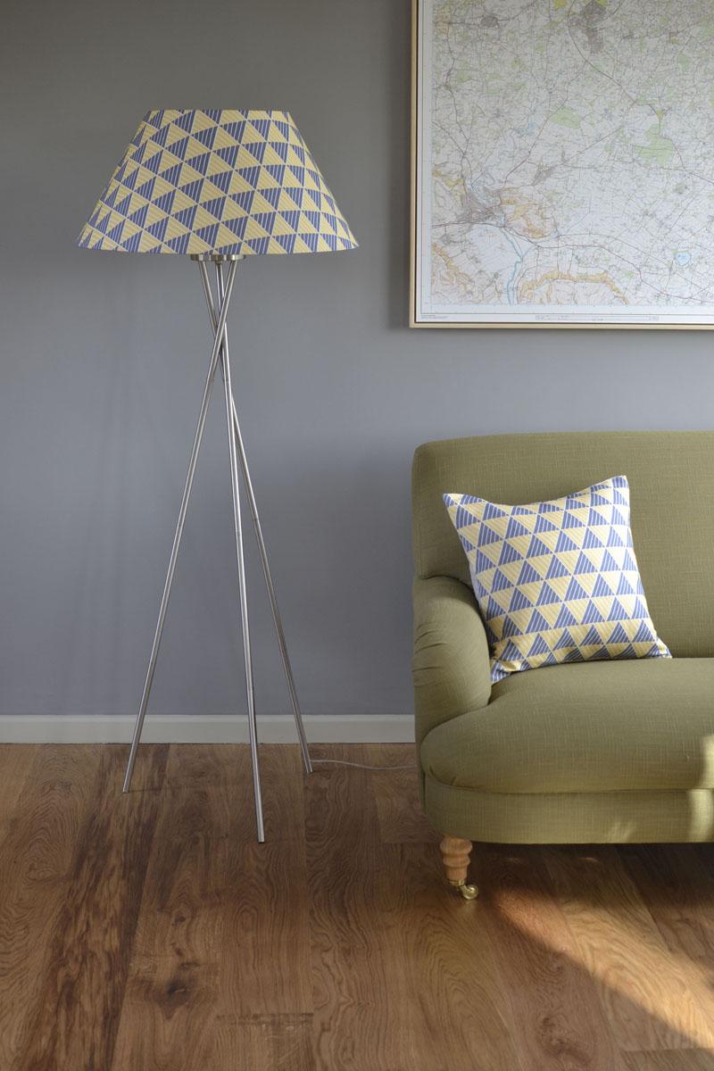 Large lampshade blue and yellow zig zag